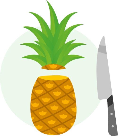 Schritt 2: Blattschopf abschneiden, Fruchtfleisch & überflüssige Blätter entfernen